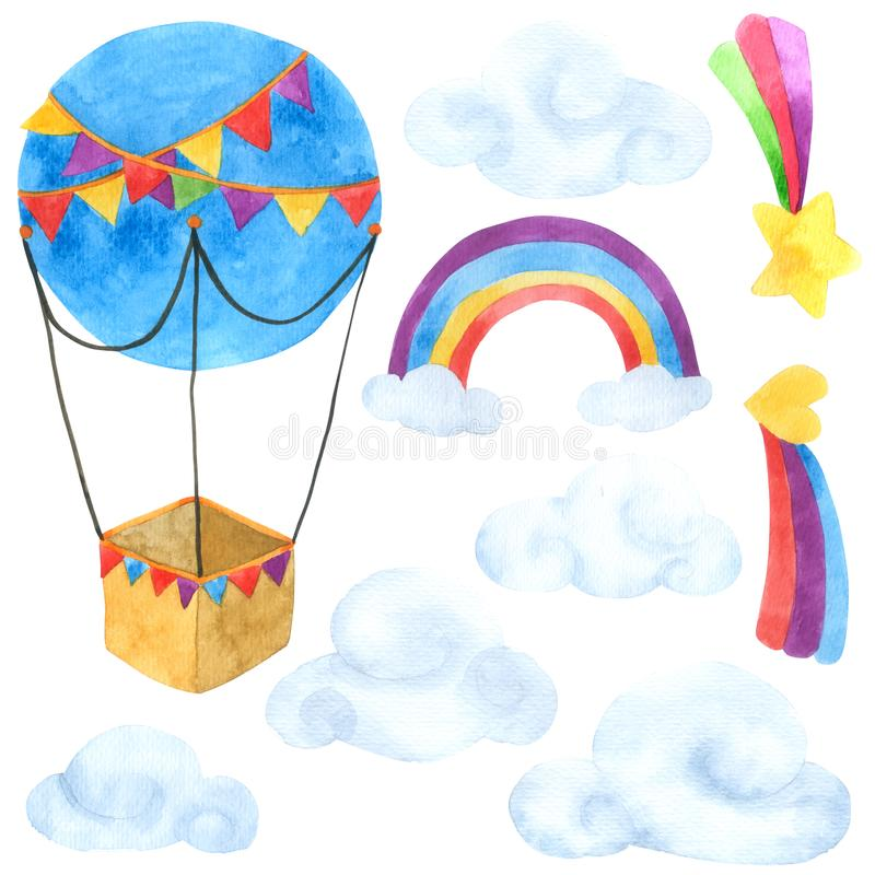 Free Balloon Cartoon Watercolor Collection Isolated On White Background , Set Of Balloon Hand Drawn Painted For Greeting Card Stock Photos - 126489923