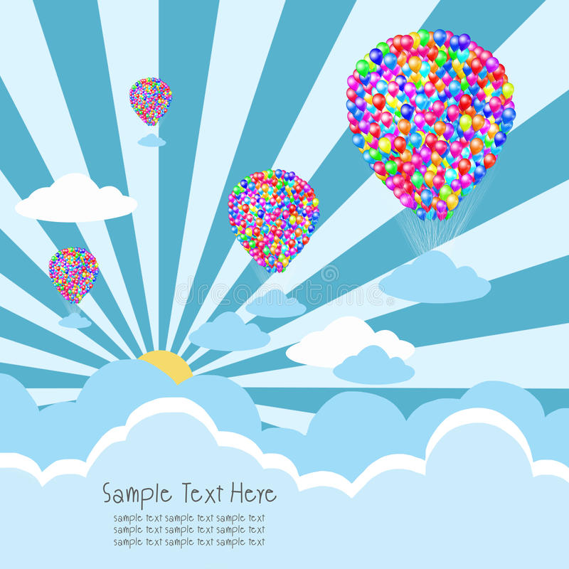 Balloon with cloud and rays royalty free illustration