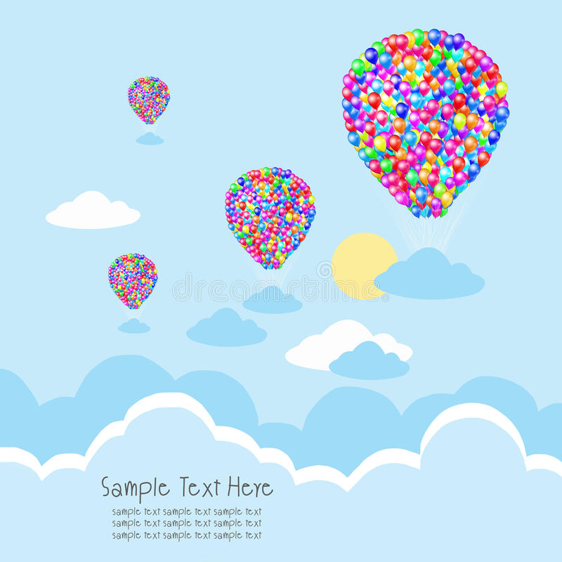 Balloon with cloud and rays stock illustration
