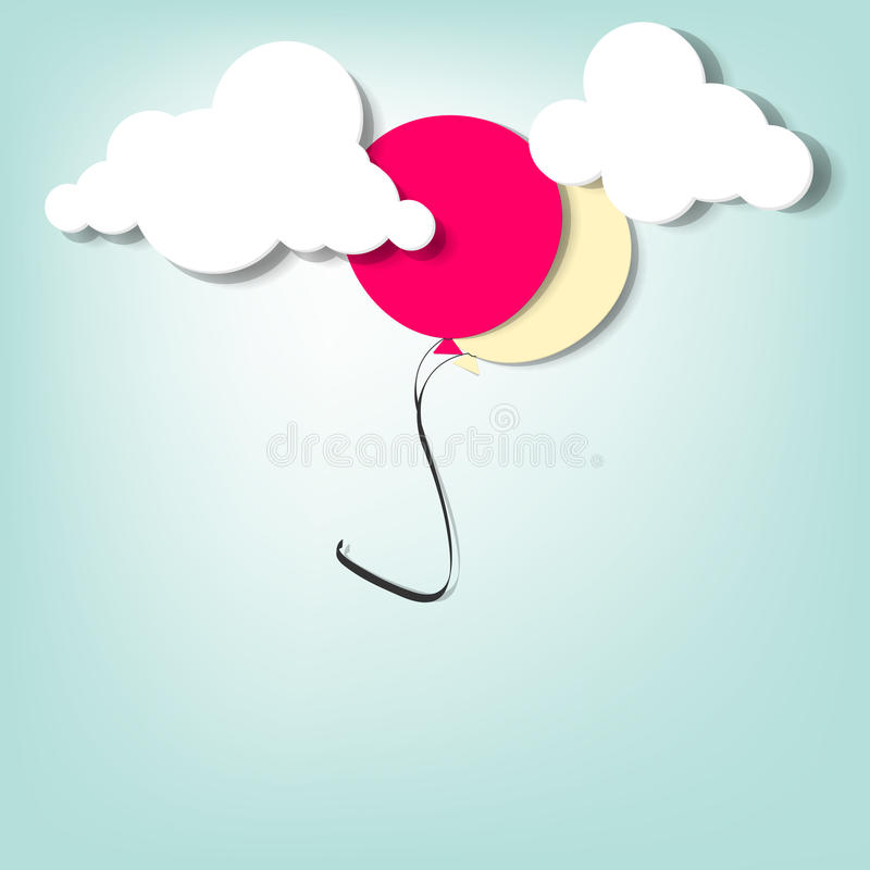 Download Balloon in the clouds stock illustration. Image of entertainment - 26796095