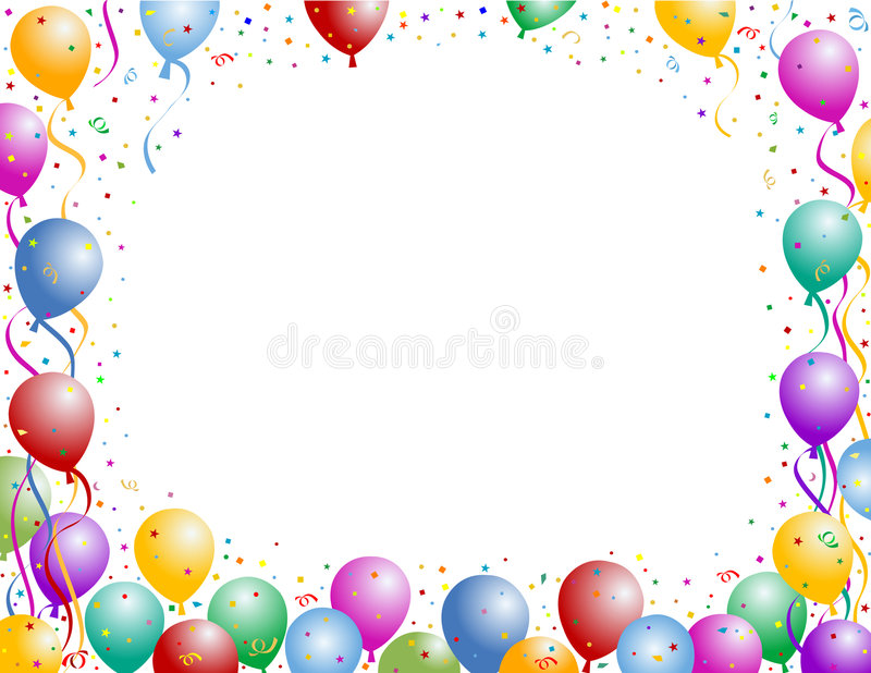 Balloon and confetti stock illustration
