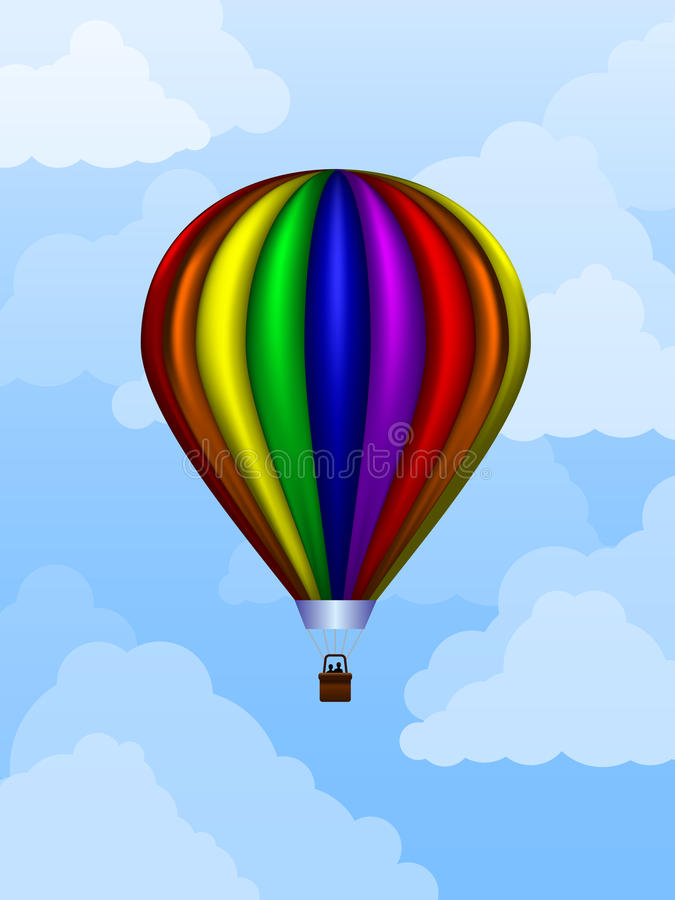 Balloon At Daytime. Rainbow colored balloon floating in the sky during daytime royalty free illustration