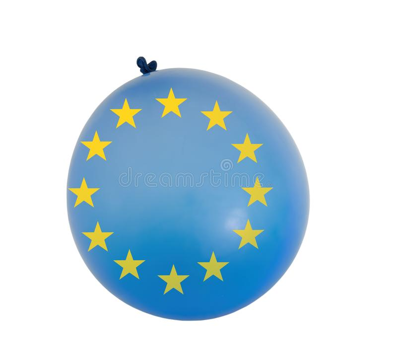 Balloon with EU colours and yellow colour stars. Concept, Brexit etc and inflated European Union. Isolated on white.  stock photo