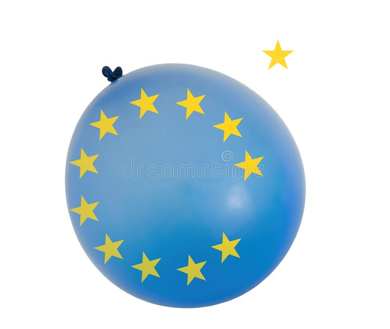 Balloon with EU colours and yellow colour stars. Concept, Brexit etc and European Union. Isolated on white background. Balloon with EU colours and yellow colour stock images