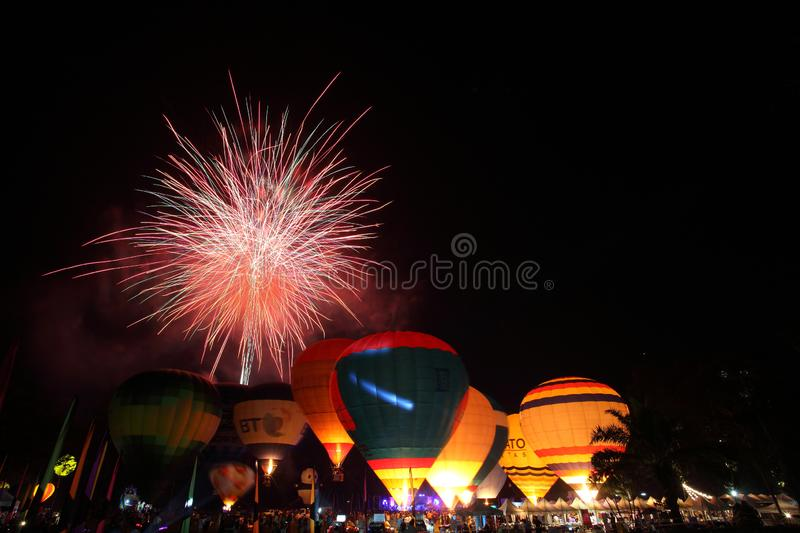 Balloon festival with fireworks. Night stock images