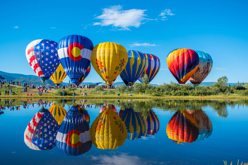 Balloon Festival. Hot air balloon festival in Steamboat Springs, Colorado royalty free stock image