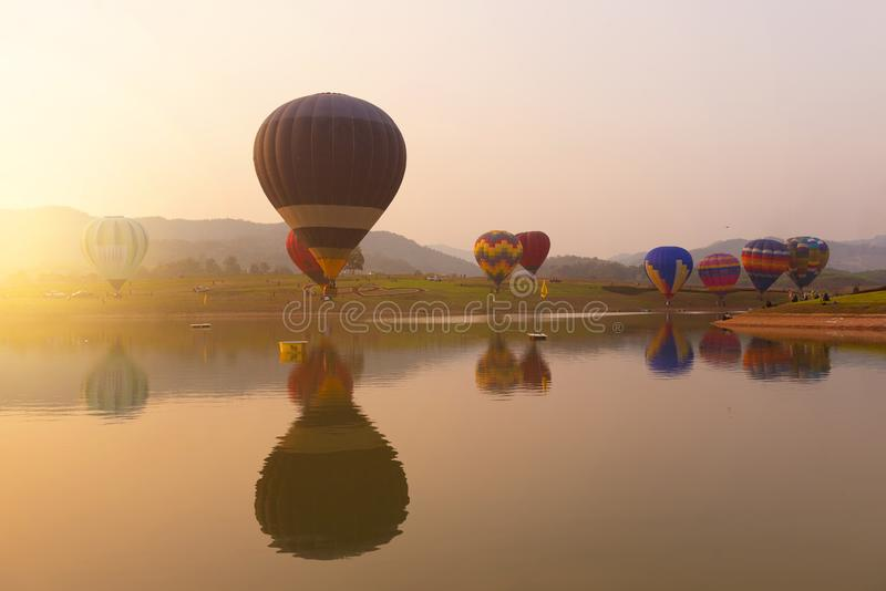 Balloon festival during winter in Chiangrai. Thailand stock image