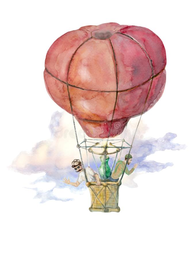 Balloon flight is illustrated with watercolor stock illustration