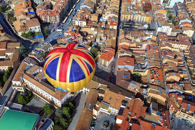 Balloon flight over the city Vic. Spain. Balloon over the old center of the spanish town Vic. Spain, Barcelona province royalty free stock photos