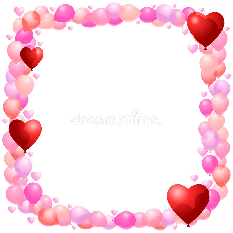 Free Balloon Frame With Hearts Royalty Free Stock Image - 7616276