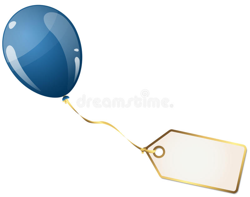 Balloon with hangtag. Flying colored balloon with empty white golden hangtag vector illustration