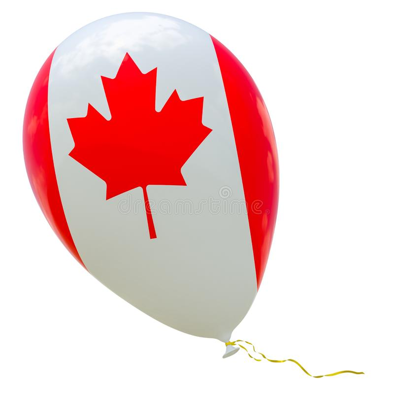 Balloon with the image of the national flag of Canada. 3D rendering, illustration isolated on white royalty free illustration