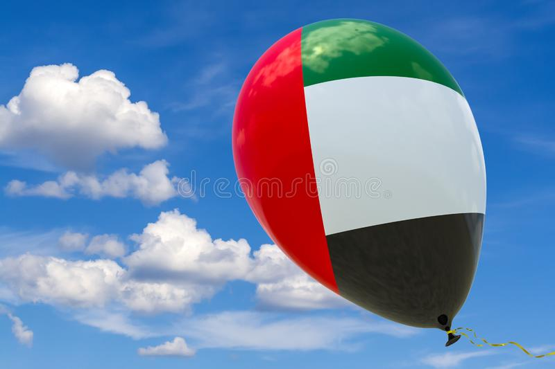 Balloon with the image of the national flag of UAE, flying through the blue sky. 3D rendering, illustration with copy space stock illustration