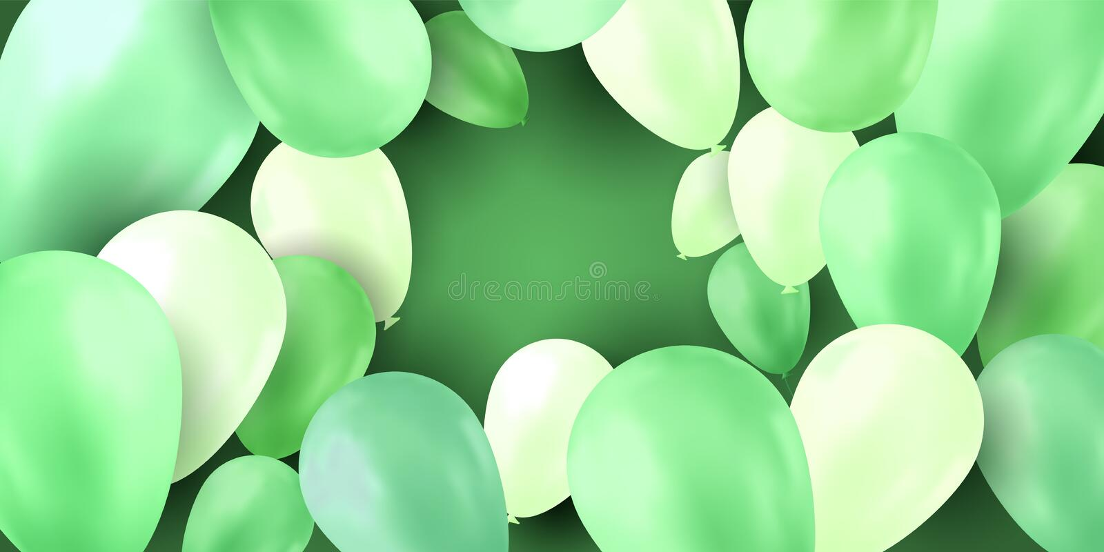 Balloon isolated on colorful background. Birthday vector banner. Gift realistic flyer. Bright balloon. stock photos