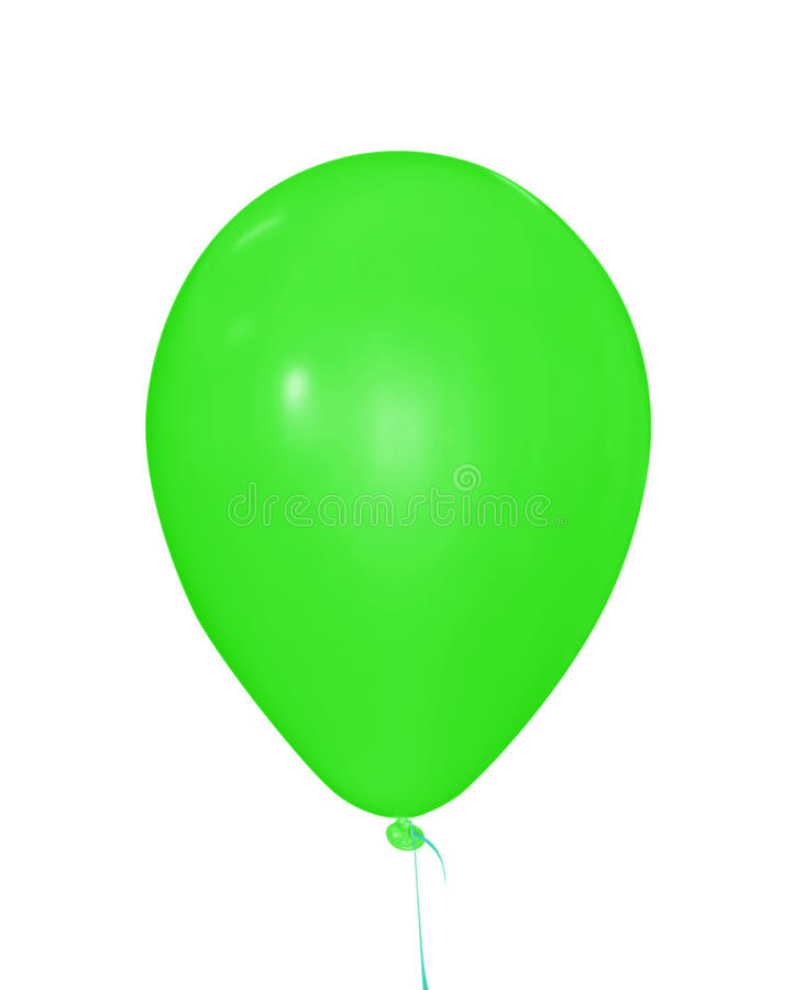 Balloon isolated - green. Single green balloon isolated on white. Clipping path included royalty free stock photography