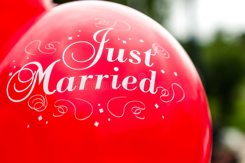 Balloon just married stock photos