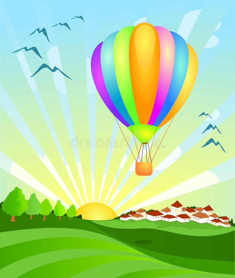 Free Balloon Landing At Dawn Royalty Free Stock Image - 13286106