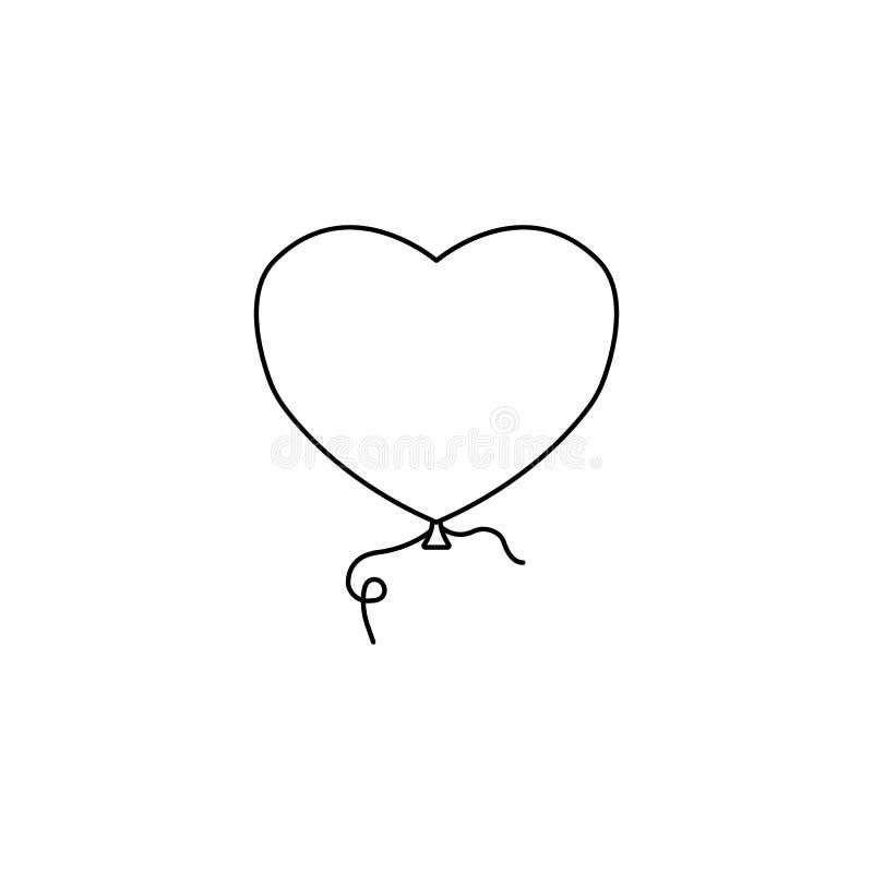 Balloon a linha ícone do coração e de amor, dia de Valentim ilustração do vetor