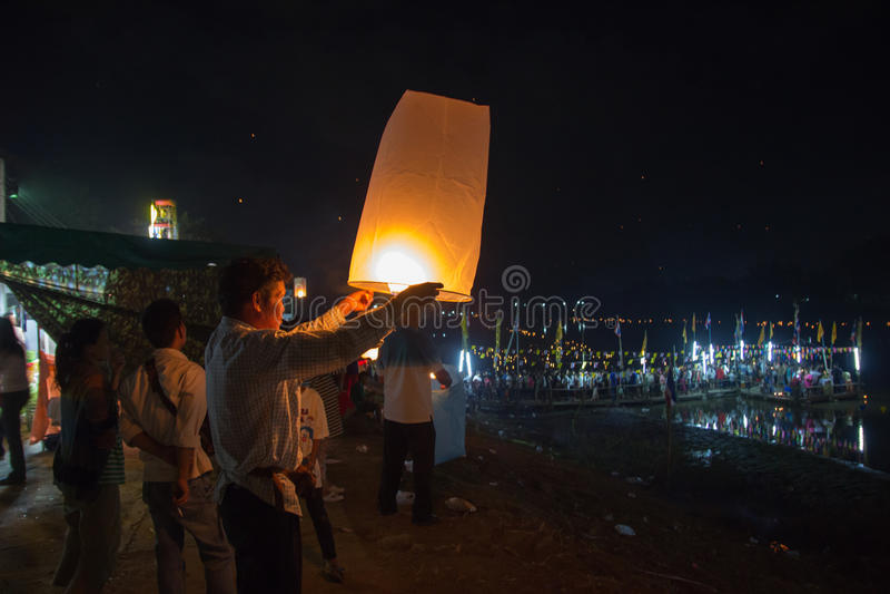 Balloon on Loy Krathong festival in Thailand royalty free stock photo