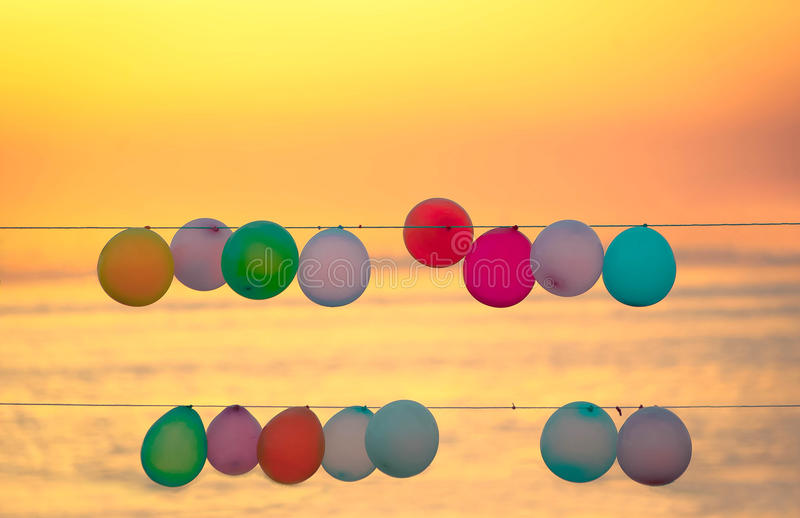 Balloon. The mobile workers to retrieve the balloons to earn money engagement royalty free stock images