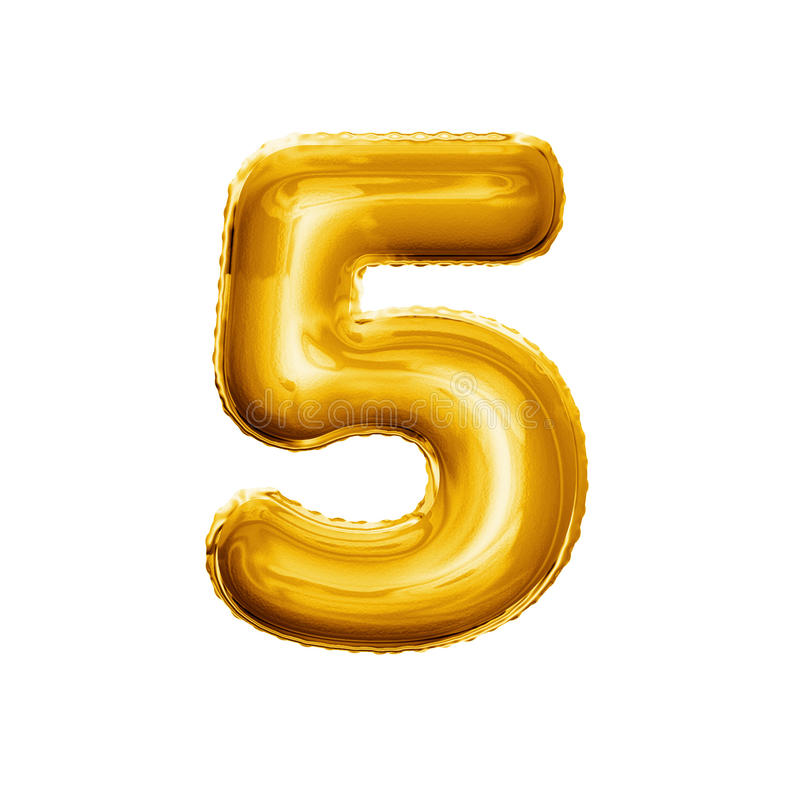 Balloon number 5 Five 3D golden foil realistic alphabet royalty free stock images