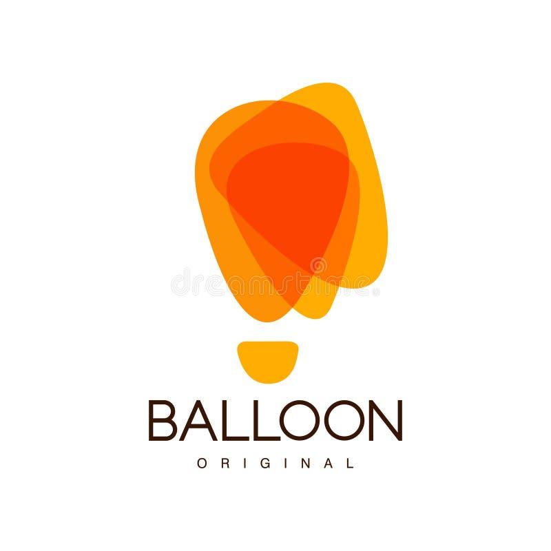 Balloon o logotipo original, criativo para a identidade de marca incorporada, férias de verão, festival, curso, vetor do turismo ilustração royalty free