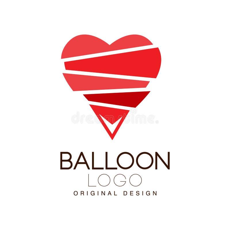 Balloon o projeto original do logotipo, crachá criativo com coração vermelho para a identidade de marca incorporada, férias de ve ilustração do vetor