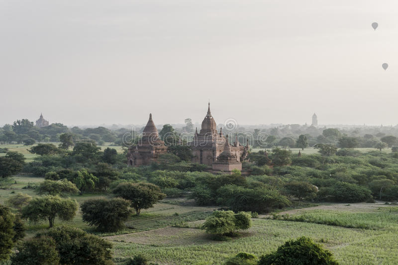 Balloon over The Temples of Bagan royalty free stock photos