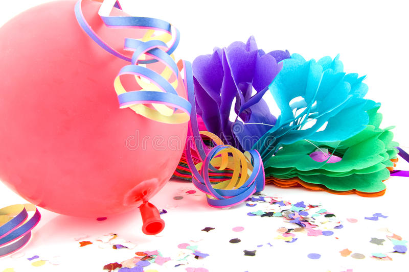 Balloon And Party Streamers For Birthday Royalty Free Stock Image