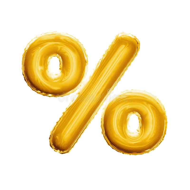 Balloon percentage sign symbol 3D golden foil realistic alphabet royalty free stock photo