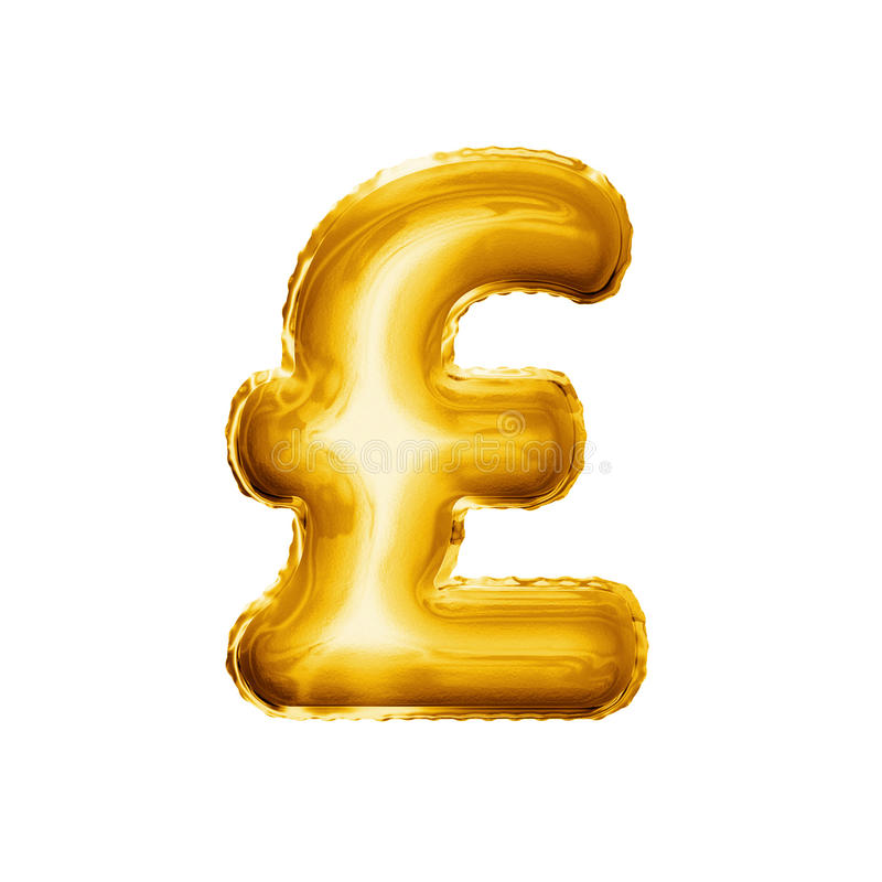 Balloon Pound Currency Symbol 3d Golden Foil Realistic Stock Image