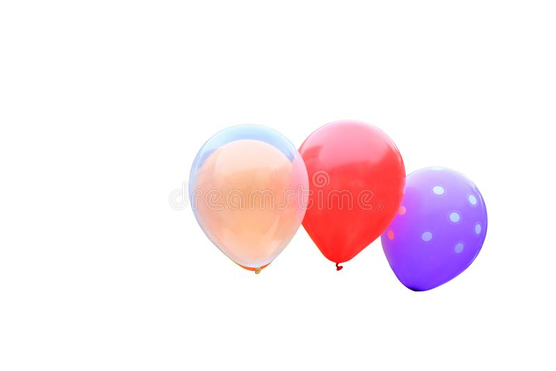 Balloon red, pink, orange, green, purple. beautiful on isolated white background and clipping path royalty free stock image
