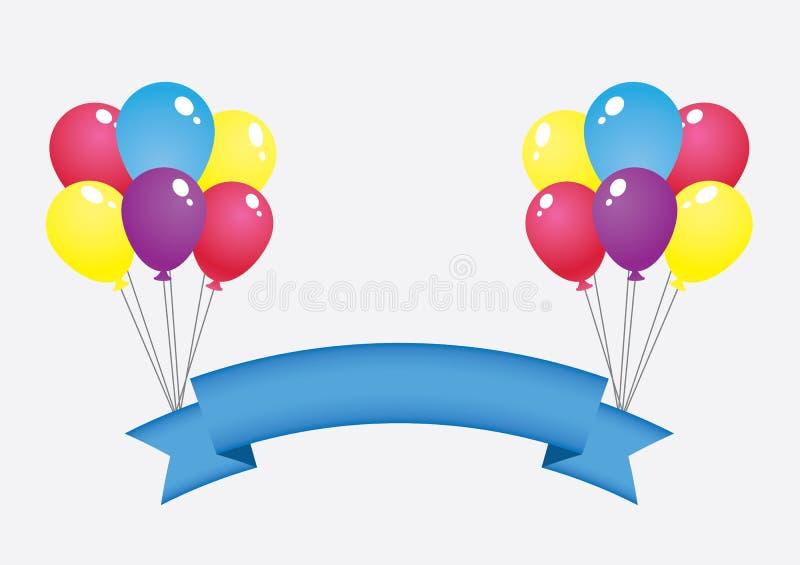 Balloon and banner ,flat design stock illustration