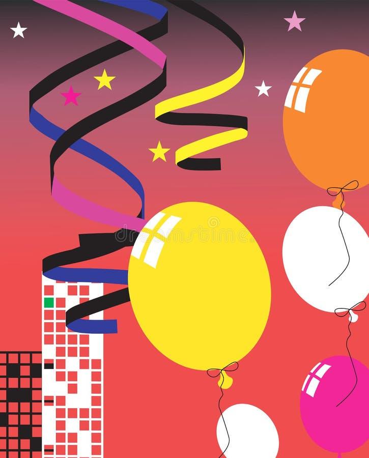 Balloon and ribbons vector illustration