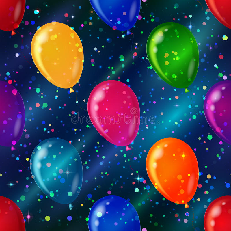 Balloon seamless background in space stock illustration