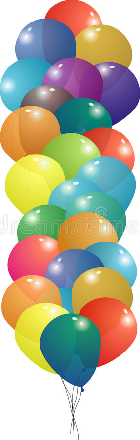 Balloon set string. Collection of many balloons on top of each other so you can see thru each in a long string royalty free illustration