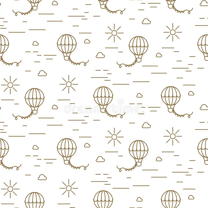 Balloon simple line gold and white seamless vector pattern. stock illustration