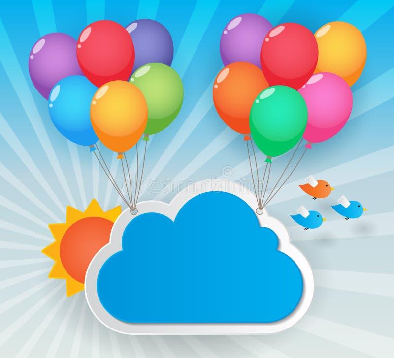 Balloon sky background vector illustration