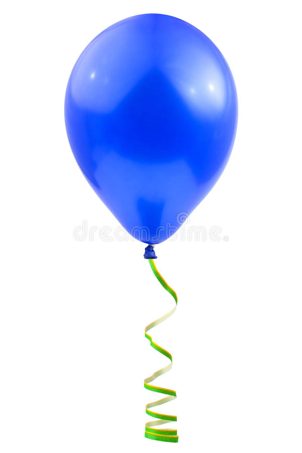 Balloon and streamer. Isolated on white background stock image