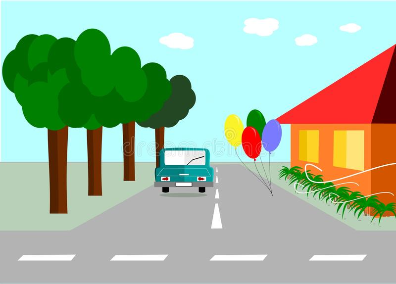 Balloon on the street. Landscape Birthday balloon on the street with car and house stock illustration