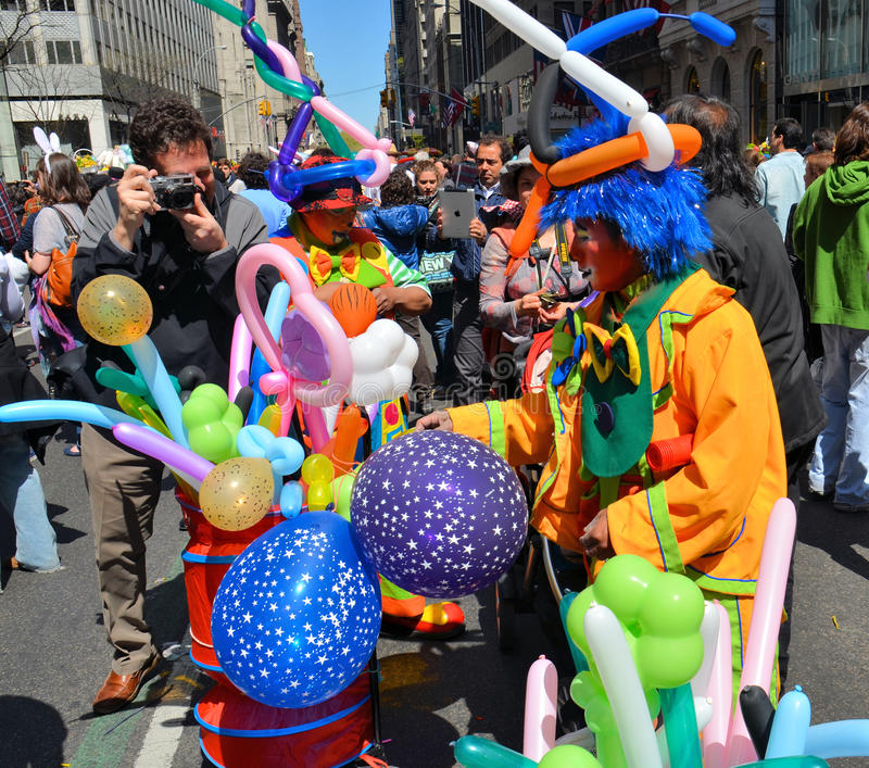 Balloon street vendors. During the 2012 Easter Parade and Easter Bonnet Festival in New York City stock image