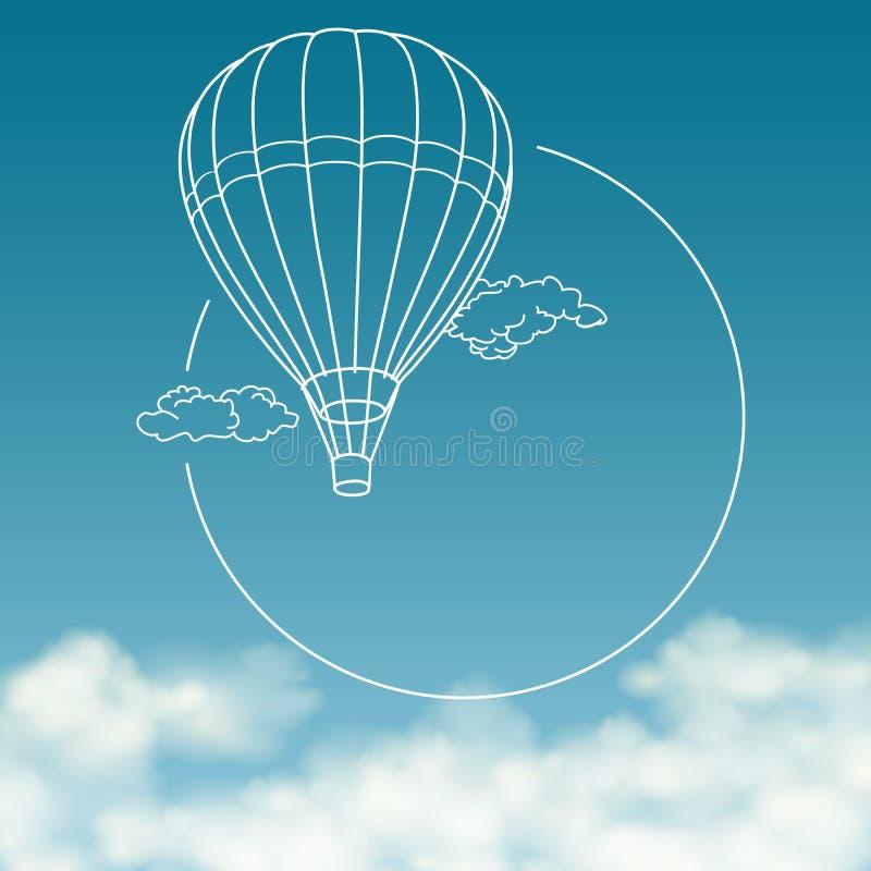 Balloon su fondo del cielo nuvoloso con spazio per illustrazione vettoriale