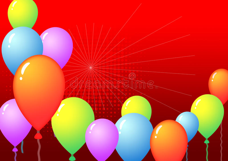 Balloon template. Colorful balloon template with red gradient background stock illustration