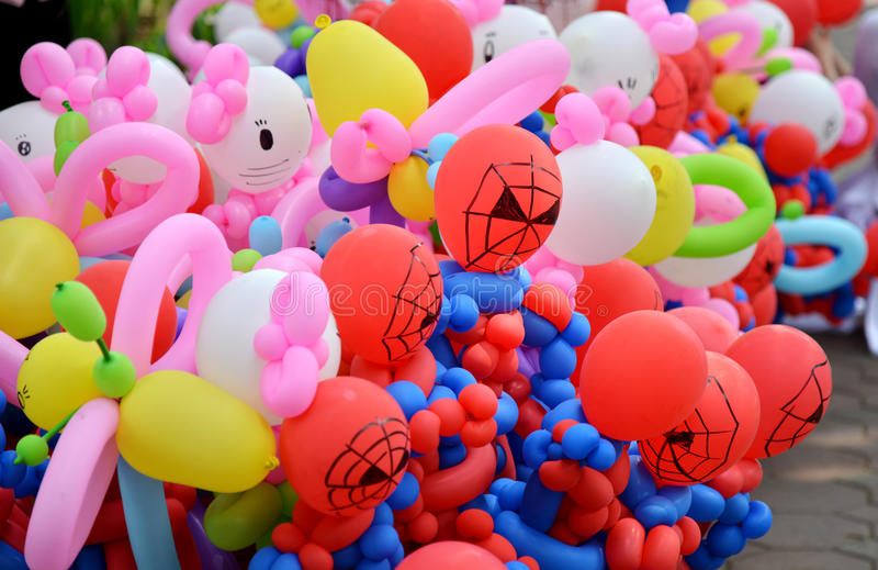 Balloon twisting art children workshop. Colorful stock royalty free stock photos