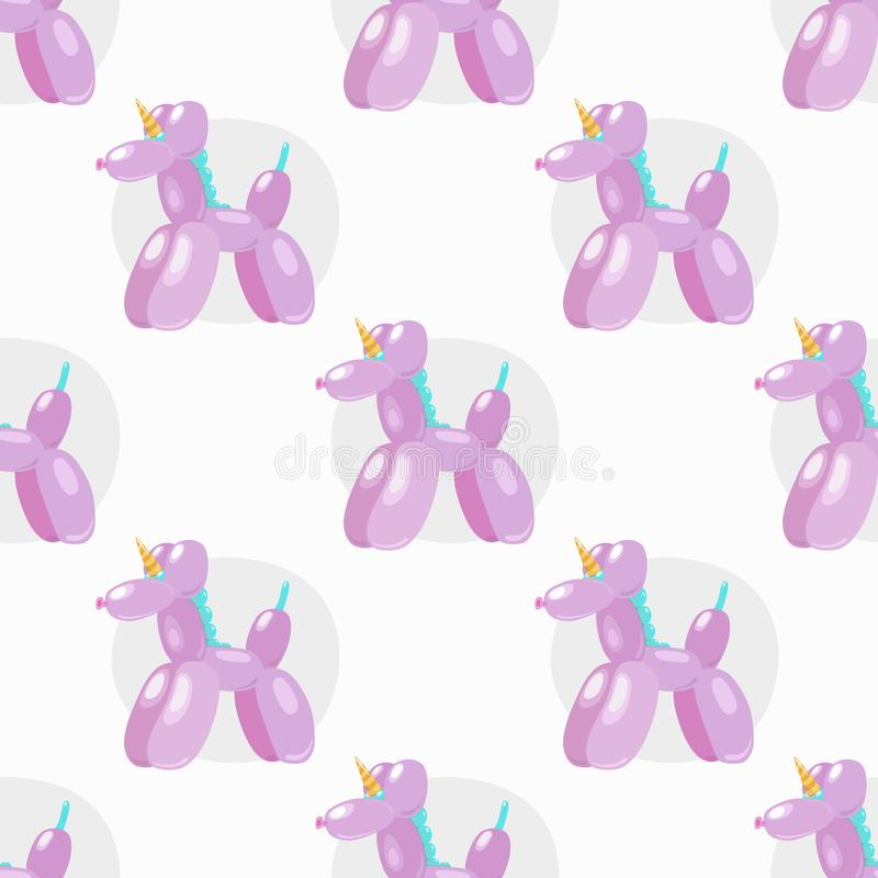 Balloon unicorn. Vector seamless pattern of cute cartoon bubble animal in soft pink color isolated on white background stock illustration