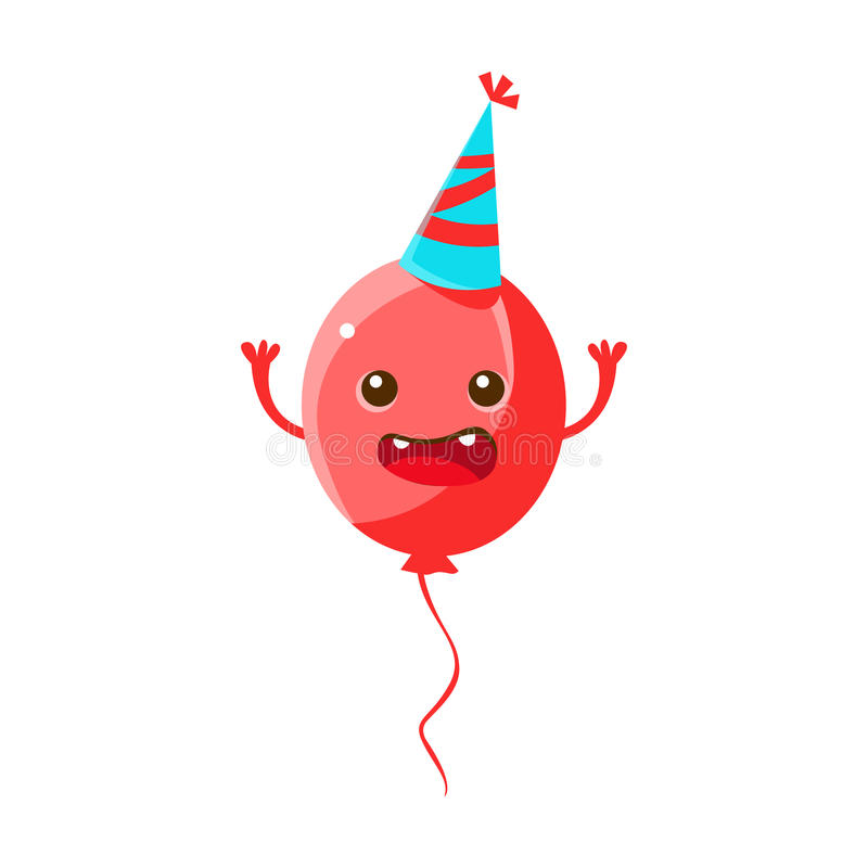 Balloon Wearing Party Hat,Happy Birthday And Celebration Party Symbol Cartoon Character royalty free illustration