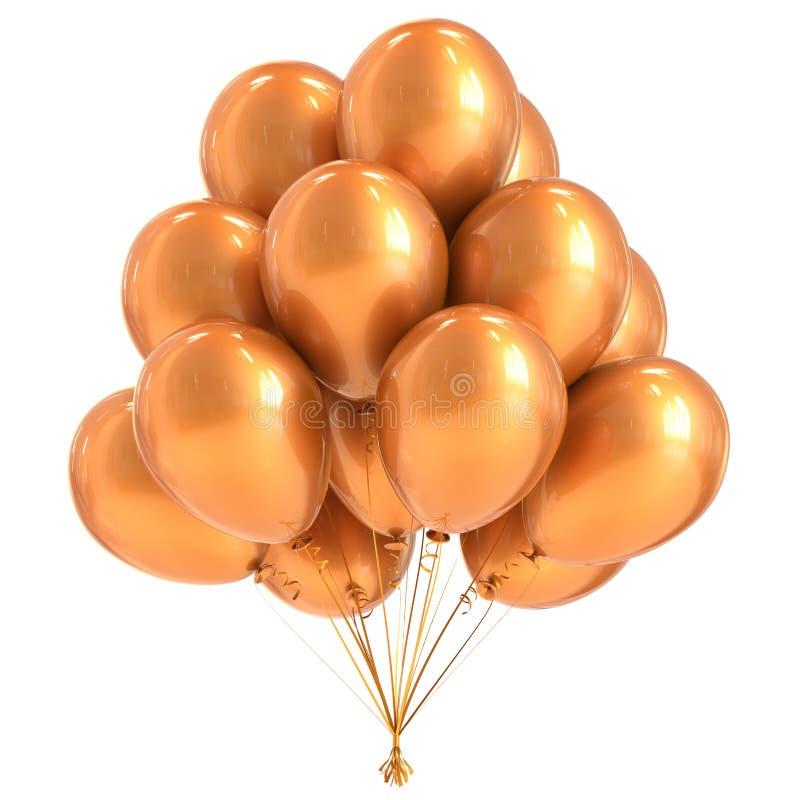 Balloon yellow party birthday decoration bunch balloons golden stock illustration