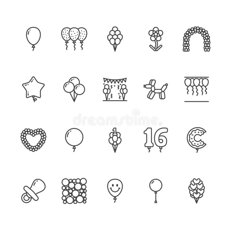 Balloonery flat line icons. Balloons for birthday party decoration, star, heart shape, confetti, foil balloon vector royalty free illustration