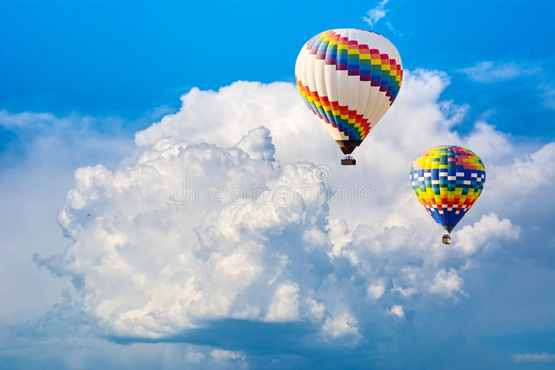 Ballooning in the clouds. Unforgettable feeling of freedom. Artistic picture. Beauty world.  stock images