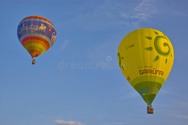 Balloons. Competition at Fragneto Monforte, Italy stock photo